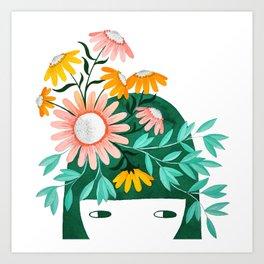 Spring girl botanical floral watercolor illustration Art Print