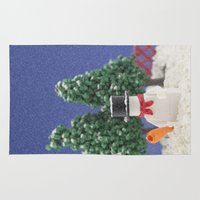 snowman Area & Throw Rugs featuring Snowman by Pedro Nogueira