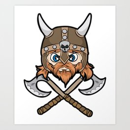 VIKING Helmet Axe Nordic Brute Berserk Fighter Art Print