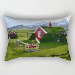 Lindarbakki Turf House in Borgarfjörður-Eystri in East-Iceland Rectangular Pillow