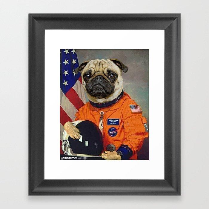 Space Pug Gerahmter Kunstdruck