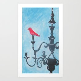 Red Bird on Chandelier Art Print
