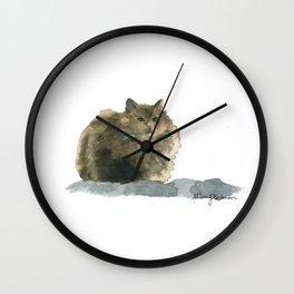 Cat on the rocks Wall Clock