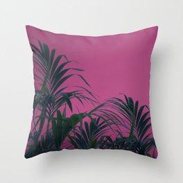 Pink Sunset Palm Throw Pillow