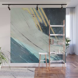 Karma: a bold abstract in blues and gold Wall Mural
