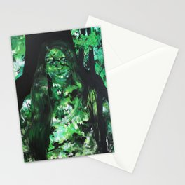 Portrait Behind Leaves Stationery Cards