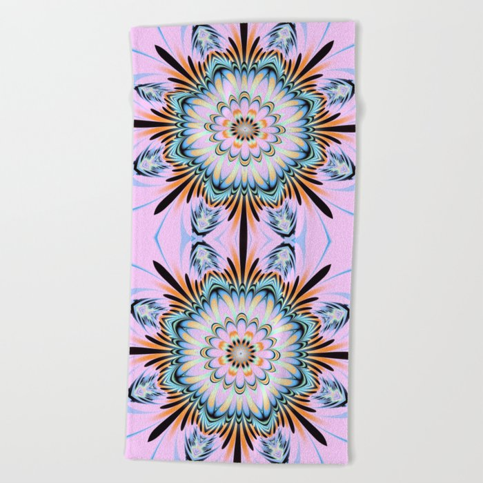 Decorative fantasy flower with a pastels heart Beach Towel