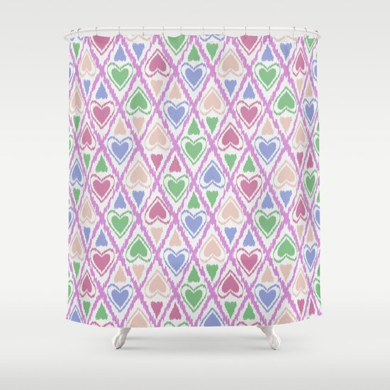favorite pattern brown pink green shower curtain by fuzzyfox society6. Black Bedroom Furniture Sets. Home Design Ideas