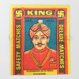 Old Matchbox label #9 Throw Blanket