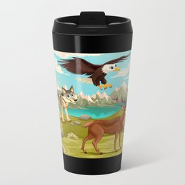 Funny animals in a mountain landscape Metal Travel Mug