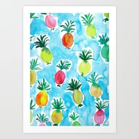 pineapples Art Prints featuring Pineapples by Barbarian // Barbra Ignatiev