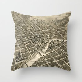 Vintage Pictorial Map of South Bend IN (1890) Throw Pillow
