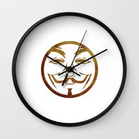 anonymous Wall Clocks featuring Anonymous by Spooky Dooky