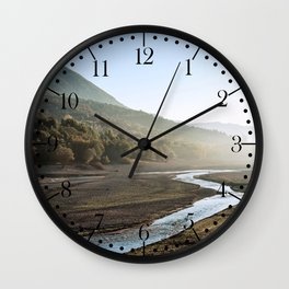 Barrea lake without water, Abruzzo National Park, Italy Wall Clock