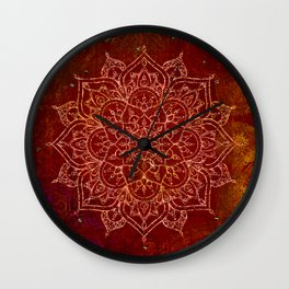 Rust Red Mandala Wall Clock