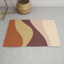 Abstract Color Waves - Warm Vintage Rug
