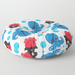 Pattern Of Pirate Octopuses, Sea Life - Red Blue Floor Pillow