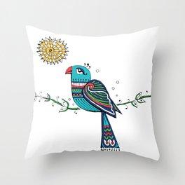 Peacock Sun Throw Pillow