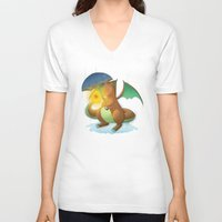 charizard V-neck T-shirts featuring Charizard by Jeanette Aga