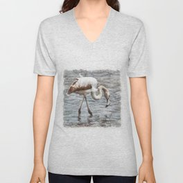 Knee Deep Flamingo Watercolor Unisex V-Neck