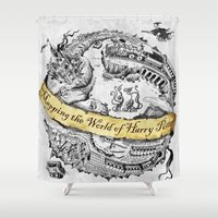 hufflepuff Shower Curtains featuring Harry's Map by Febrian89