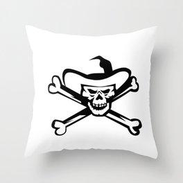 Cowboy Pirate Skull Cross Bones Retro Throw Pillow