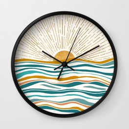 The Sun and The Sea - Gold and Teal Wall Clock