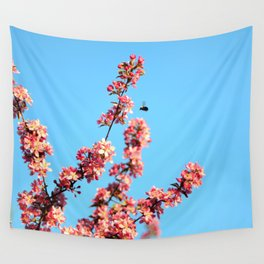 Pink flowers With Bee Wall Tapestry