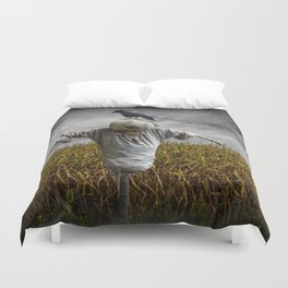 Scarecrow with Black Crows over a Cornfield Duvet Cover