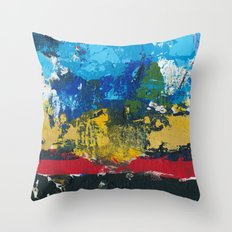 Lucas Abstract Painting Blue Black Yellow Throw Pillow