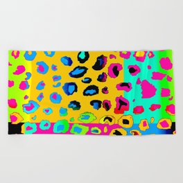 colorpop leopard Beach Towel