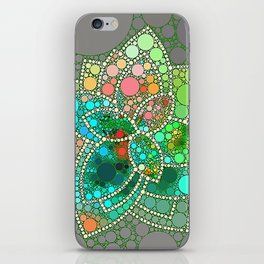 Bubble Green Abstract Flower Design iPhone Skin