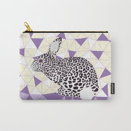 Cute Purple Pastel Rabbit Leopard Pattern Design Carry-All Pouch