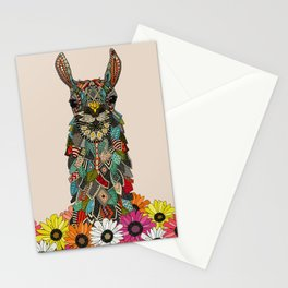 llama daisy love almond Stationery Cards