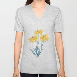 three yellow flowers Unisex V-Neck