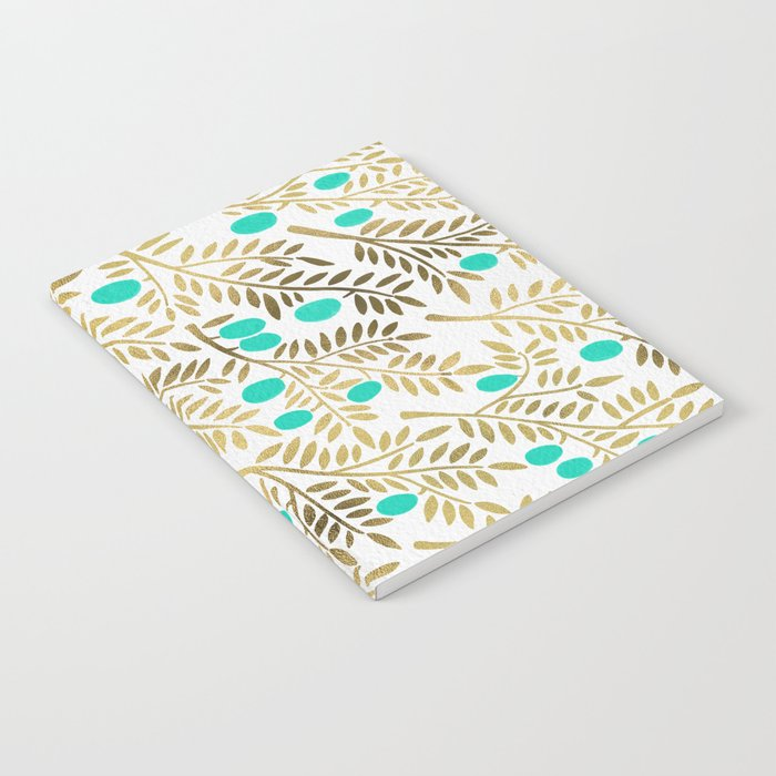 Gold & Turquoise Olive Branches Notebook