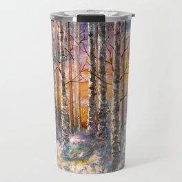 Winter Sunset Landscape Impressionistic Painting With Palette Knife Travel Mug
