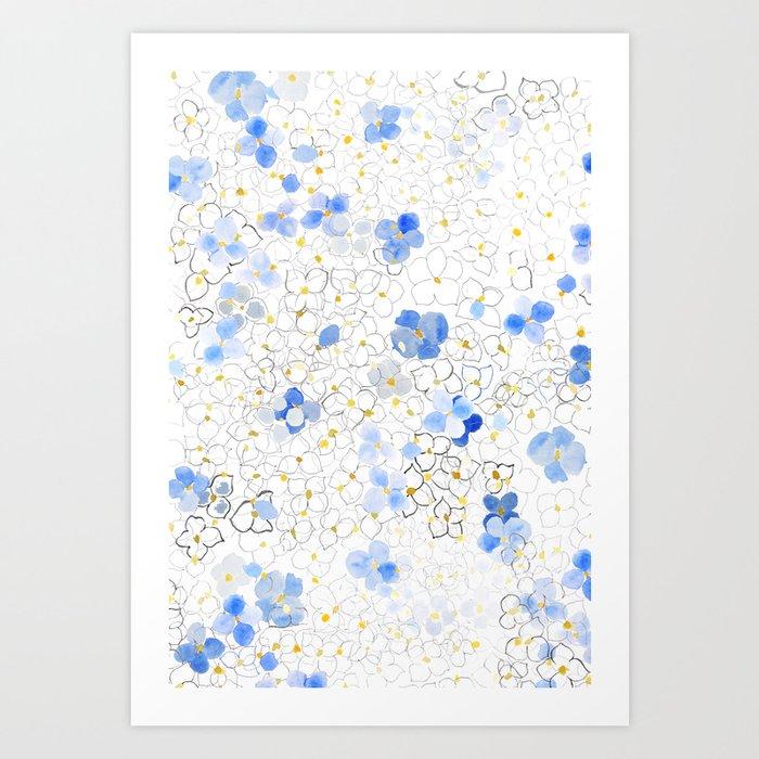 blue abstract hydrangea pattern Art Print