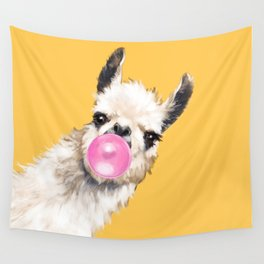 Bubble Gum Sneaky Llama in Yellow Wall Tapestry
