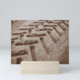 Tire tracks in the Sand Mini Art Print