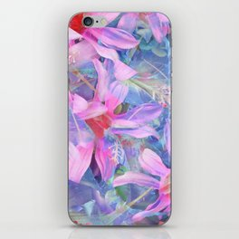 blooming pink and blue daisy flower abstract background iPhone Skin