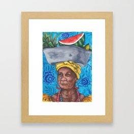 Fruits & Flowers // BLUE Framed Art Print