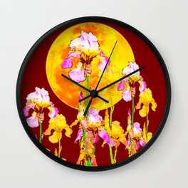 BURGUNDY SKY IRIS GARDEN RISING GOLDEN MOON Wall Clock
