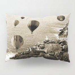 Flying Hot air Balloons over Newfoundland Monochrome Sepia color Pillow Sham