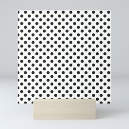 black dots on white pattern  - polka dot design large Mini Art Print