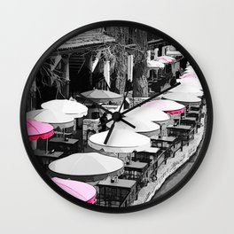 A Lovely Brunch By The River Pink Wall Clock