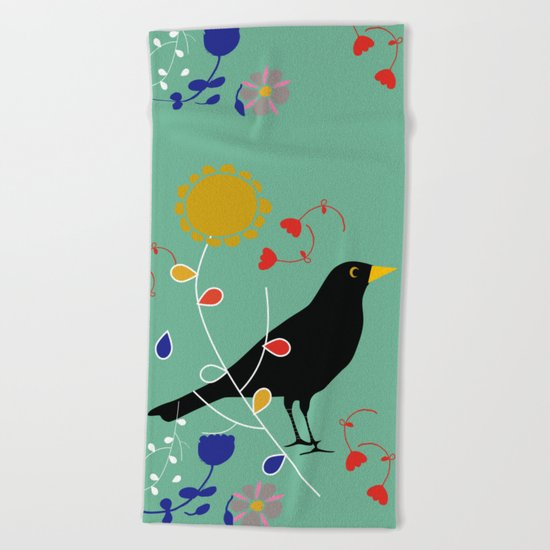 Black Bird Green Beach Towel