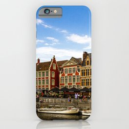 Ghent Belgium Canal Pier Cities Building Berth Marinas Houses iPhone Case