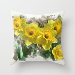 Watercolor Daffodils Throw Pillow