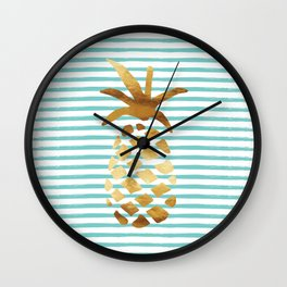 Pineapple & Stripes - Mint/White/Gold Wall Clock